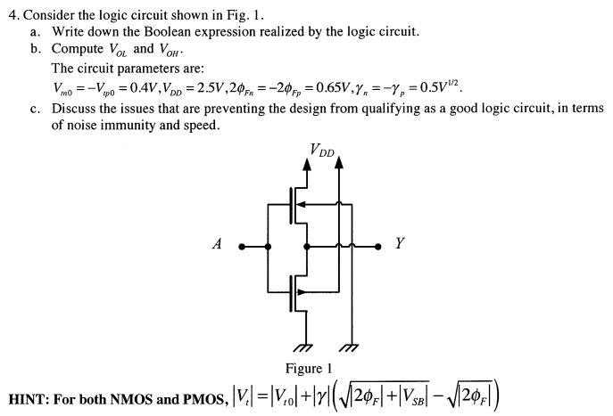 Consider the logic circuit shown in Fig. 1. Write
