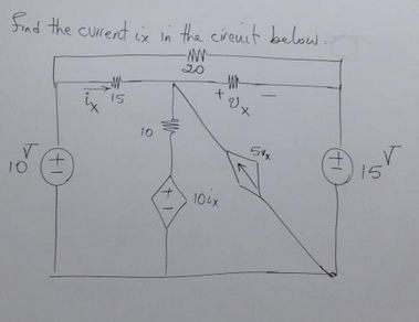 Find the current i x in the circuit below