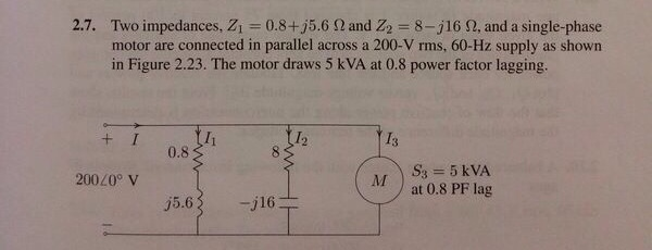 Two impedances, Z1 = 0.8 + j5.6 Ohm and Z2 = 8 - j