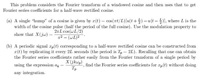 This problem considers the Fourier transform of a