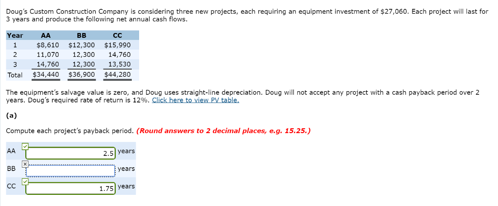 Question: Doug's Custom Construction Company is considering three new projects, each requiring an equipment...