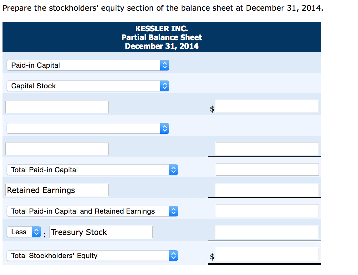 prepare the stockholders equity section of the balance sheet at december 31 2014