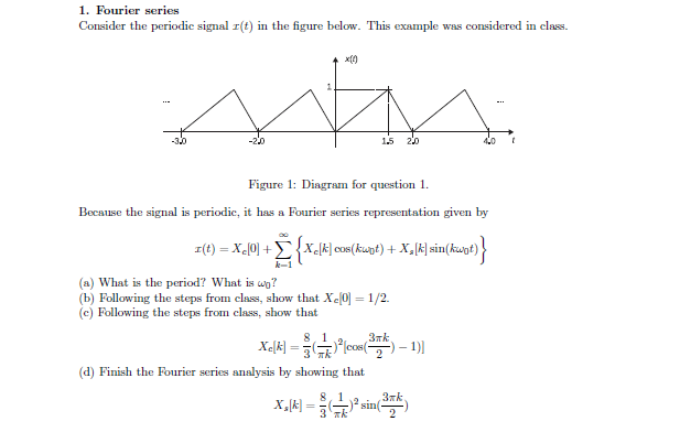 Consider the periodic signal x(t) in the figure be