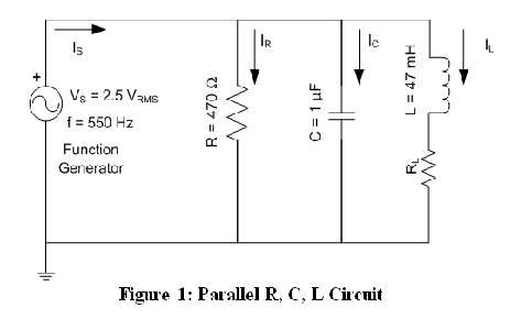 Construction of a Parallel R, L, C Circuit and Mea