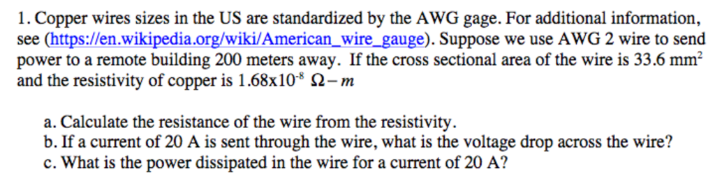 Solved copper wires sizes in the us are standardized by t copper wires sizes in the us are standardized by the awg gage for keyboard keysfo Choice Image