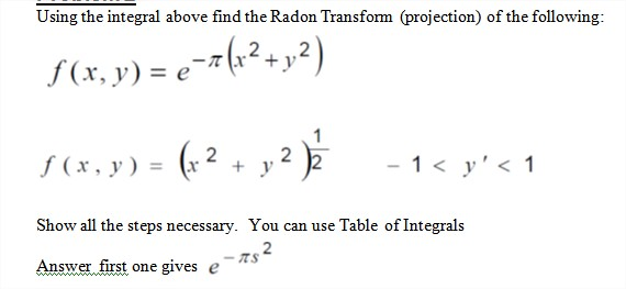 Using the integral above find the Radon Transform