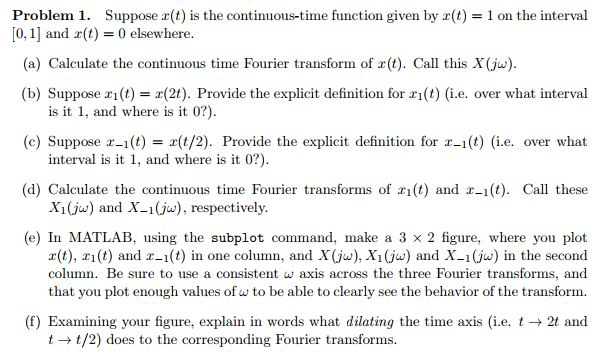 Problem 1. Suppose R(t) Is The Continuous Time Function Given By