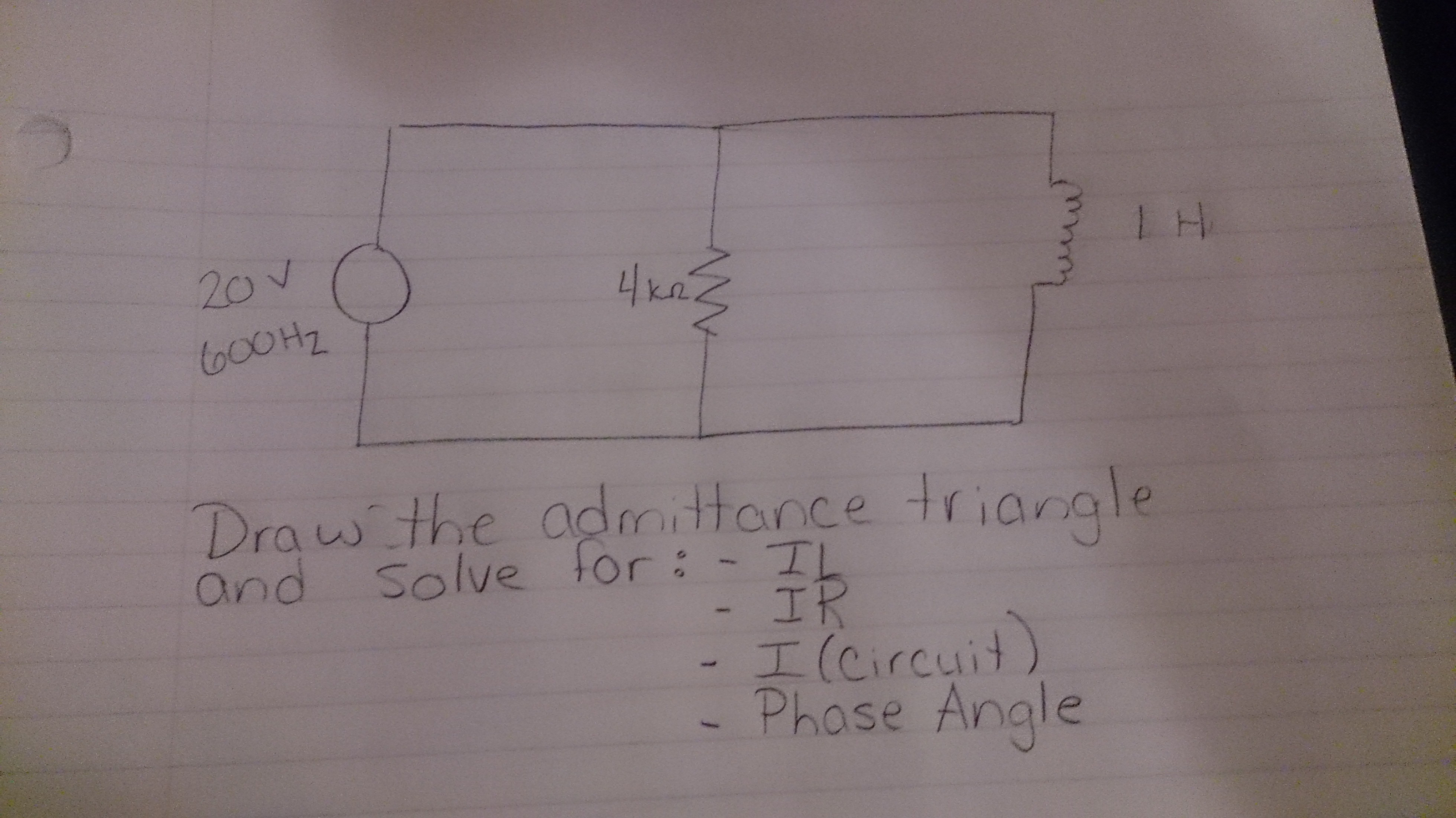Draw the admittance triangle and solve for : IL I