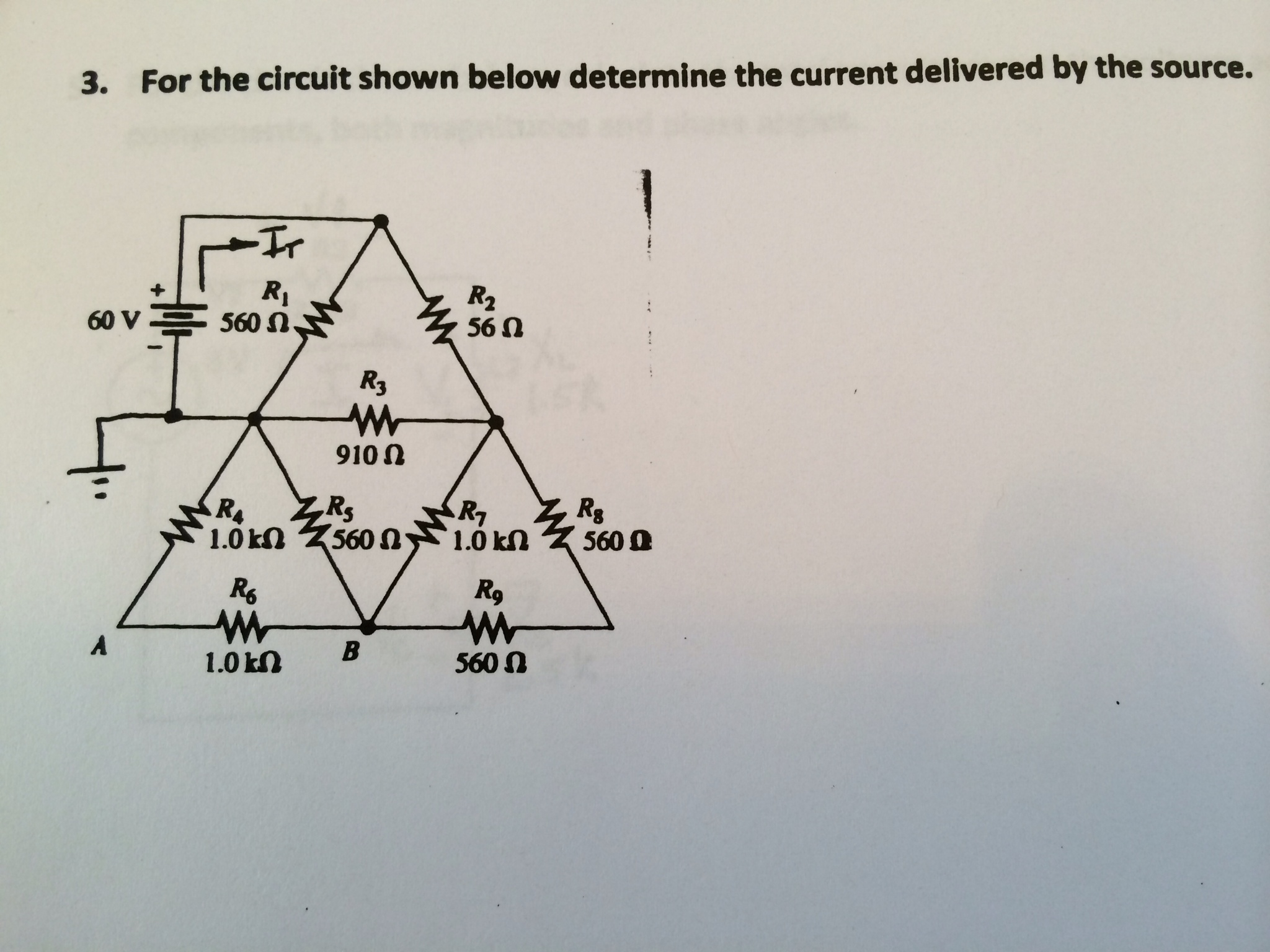 For the circuit shown below determine the current