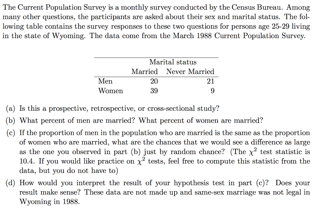 marriage questions the current population survey is a monthly survey cheggcom