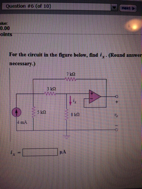 For the circuit in the figure below, find ix.
