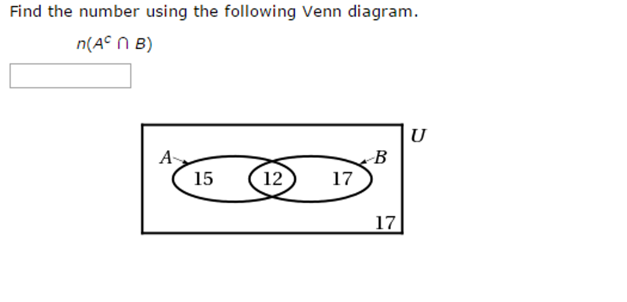 Solved find the number using the following venn diagram find the number using the following venn diagram pooptronica Images