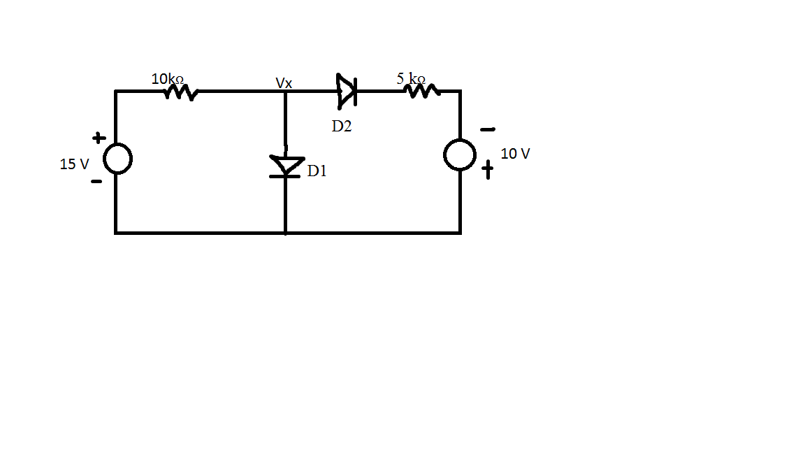 What is the voltage at Vx if; D1 = D2 = OFF D1
