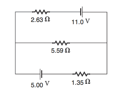 Consider the circuit with three resistors and two