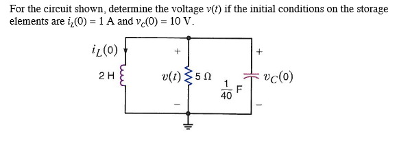 For the circuit shown, determine the voltage v(t)