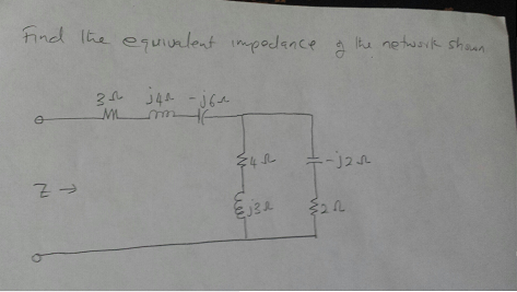 Find the equivalent impedance of the network stati