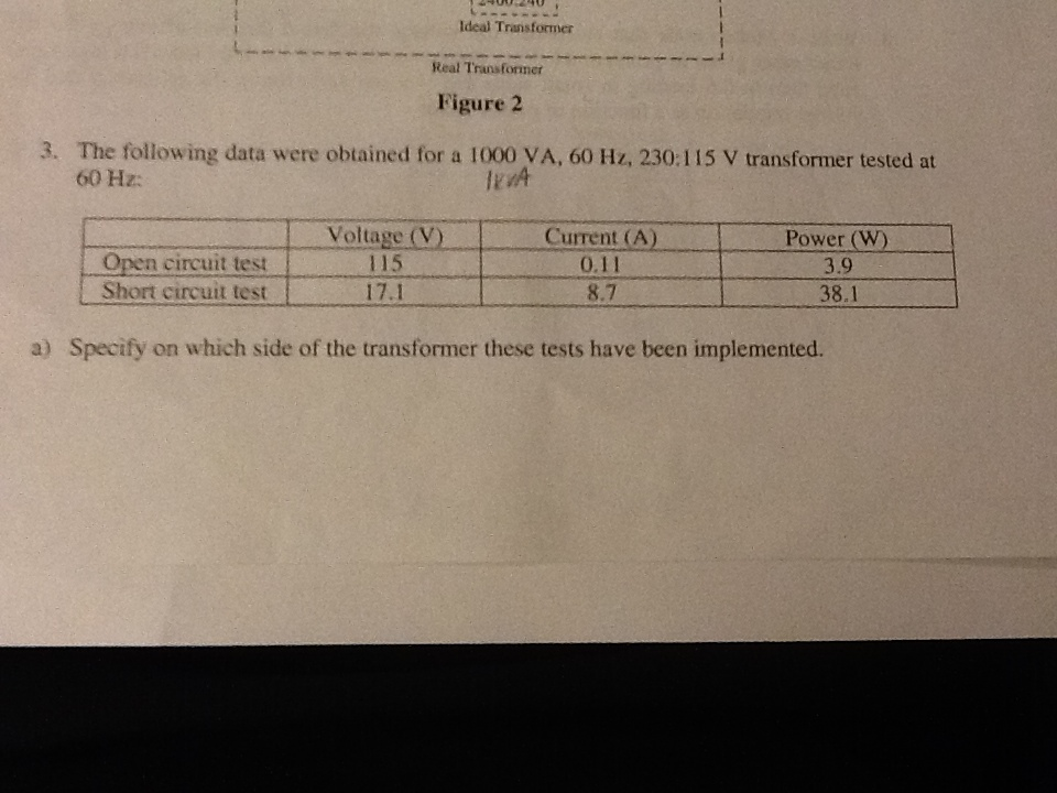 The following daa were obtained for a 1000VA, 60Hz