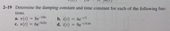 Determine the damping constant and time constant f
