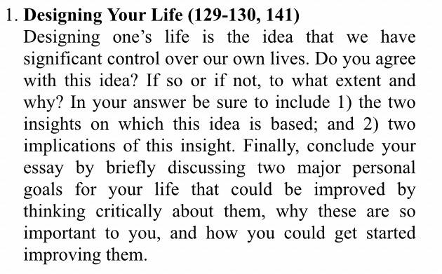 l. Designing Your Life (129-130, 141) Designing on
