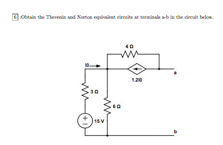Obtain the Thevenin and Norton equivalent circuits
