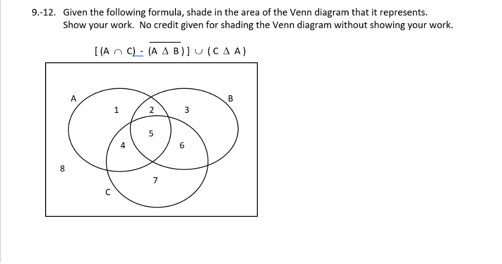 Solved Given The Following Formula Shade In The Area Of