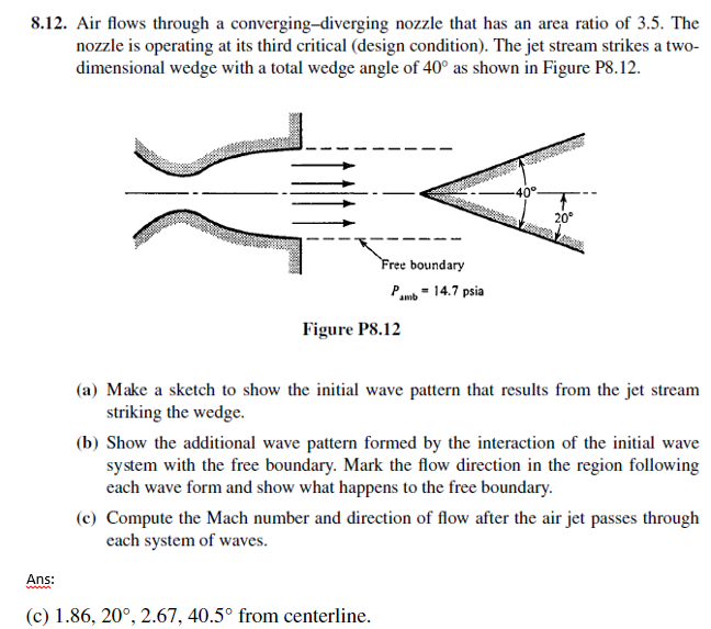 Solved air flows through a converging diverging nozzle th