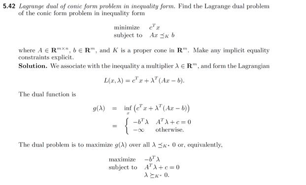 5.42 Lagrange Dual Of Conic Form Problem In Inequa... | Chegg.com