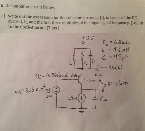 In the amplifier circuit below. write out the exp