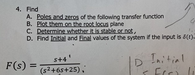 Find Poles and zeros of the following transfer fu
