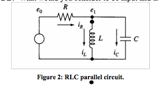 Derive the model of the parallel RLC circuit shown
