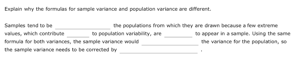 Explain Why The Formulas For Sample Variance And Population Variance Are  Different. The Populations From