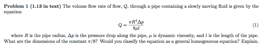 The volume flow rate of flow q through a pipe co chegg question the volume flow rate of flow q through a pipe containing a slowly moving fluid is given by the ccuart Image collections