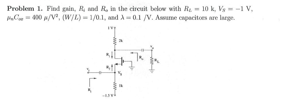 Find gain, Ri and R0 in the circuit below with RL
