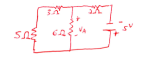 Find Va in the below circuit using nodal analysis.