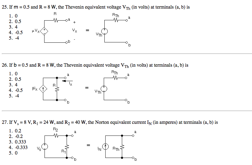 If m = 0.5 and R = 8 W, the Thevenin equivalent vo