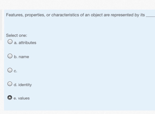 Features, properties, or characteristics of an obj