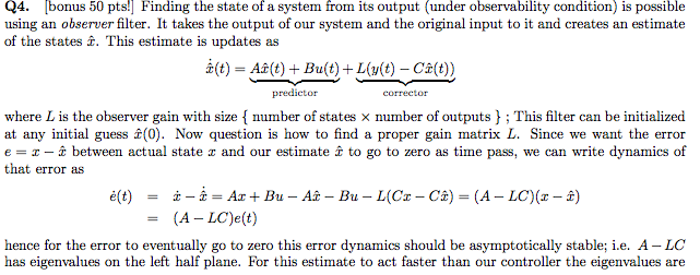how to find observer gain matrix if system not observable