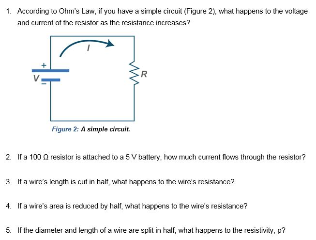 Solved according to ohms law if you have a simple circu 1 according to ohms law if you have a simple circuit figure 2 greentooth Images