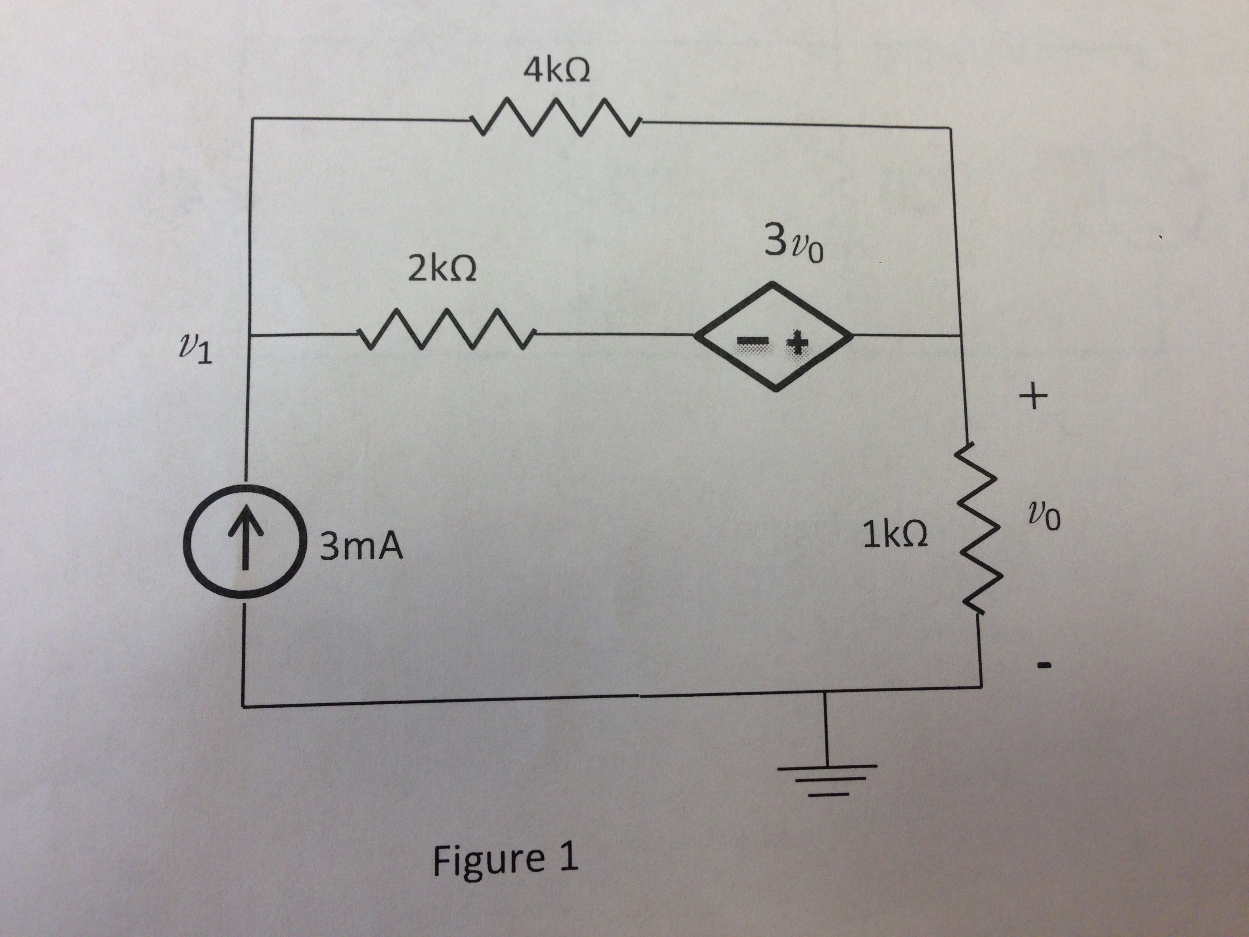 Find v0 and v1, in the circuit shown in Figure 1,