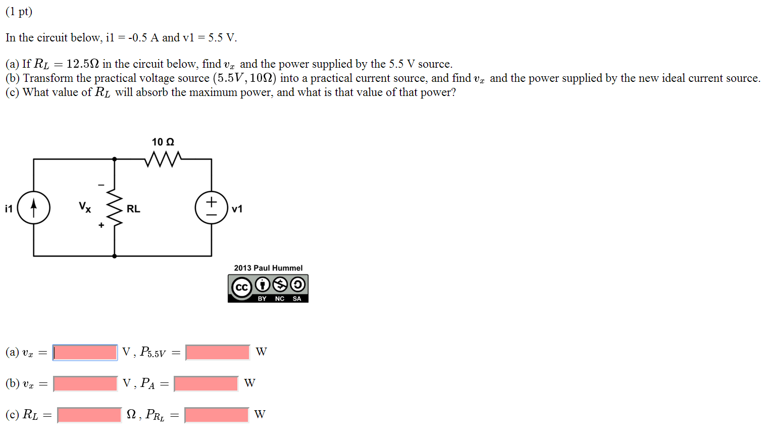 In the circuit below, il = -0.5 A and vl = 5.5 V.