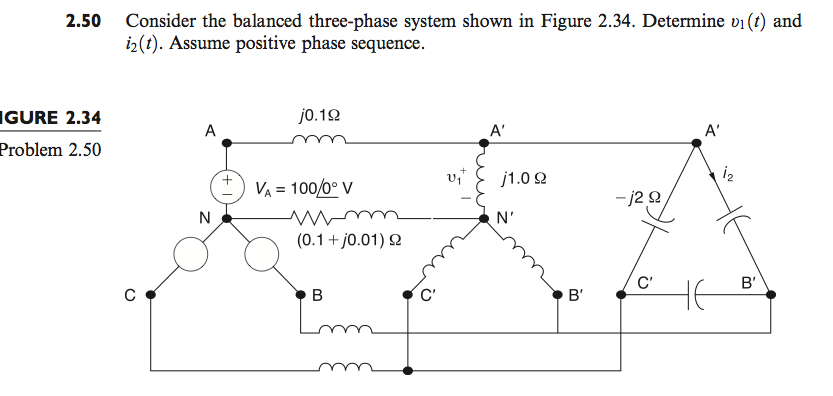 Consider the balanced three-phase system shown in