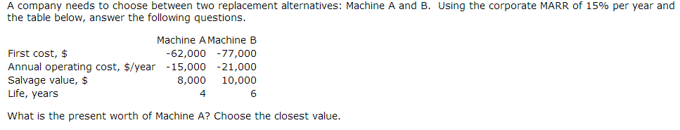What is the present worth of Machine A.What is the