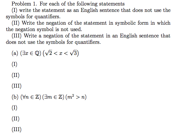Solved For Each Of The Following Statements I Write The