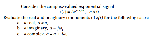 Consider the complex-valued exponential signal x(t