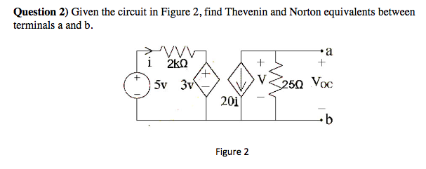 Given the circuit in Figure 2, find Thevenin and N