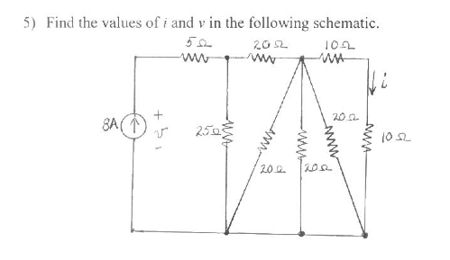 Find the values of i and v in the following schema