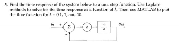 Find the time response of the system below to a un