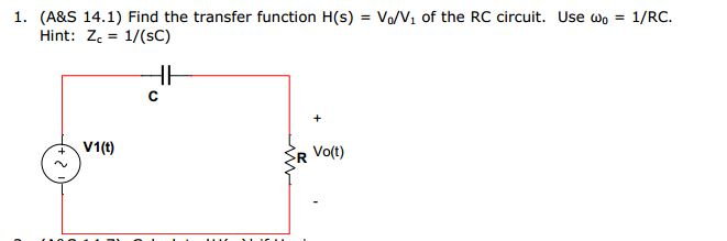 Find the transfer function H(s) = Vo/V1 of the RC