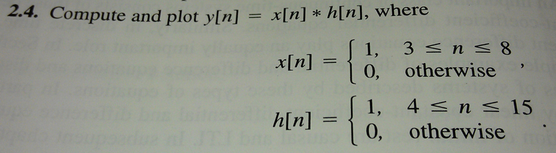 Compute and plot y[n] = x[n] * h[n], where
