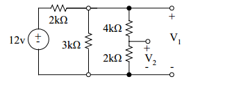 Determine the voltages V1 and V2 i